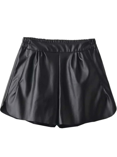 Black Elastic Waist Loose Pu Shorts