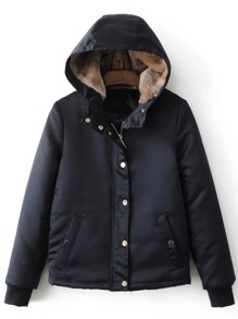 Navy Hidden Zip Hooded Padded Jacket