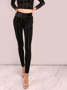 High Waisted Striped Velvet Leggings BLACK
