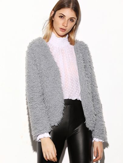 Grey Open Front Fluffy Coat