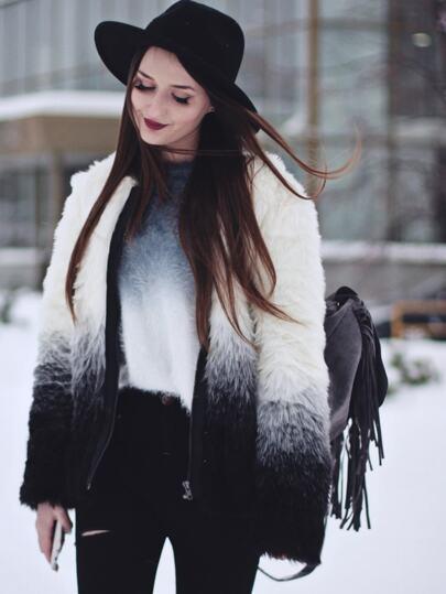 Veste en fausse fourrure manche longue -noir blanc
