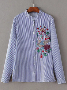Blue Vertical Striped Embroidery Blouse With Buttons