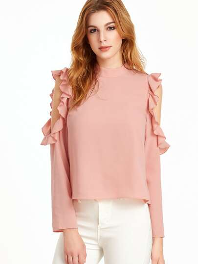 Pink Open Shoulder V Cut Out Back Ruffle Top