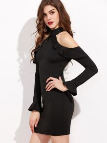 Black Halter Zipper Back Ruffle Bodycon Dress