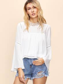 White Bell Sleeve Layered Top With Crochet Detail