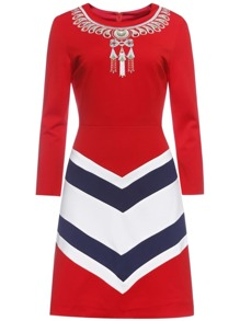 Red Embroidered Chevron Print Sheath Dress