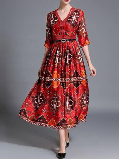 Red V Neck Vintage Print Long Dress