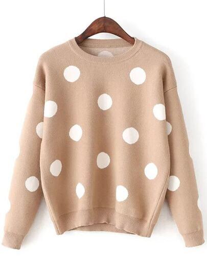 Khaki Polka Dot Round Neck Sweater