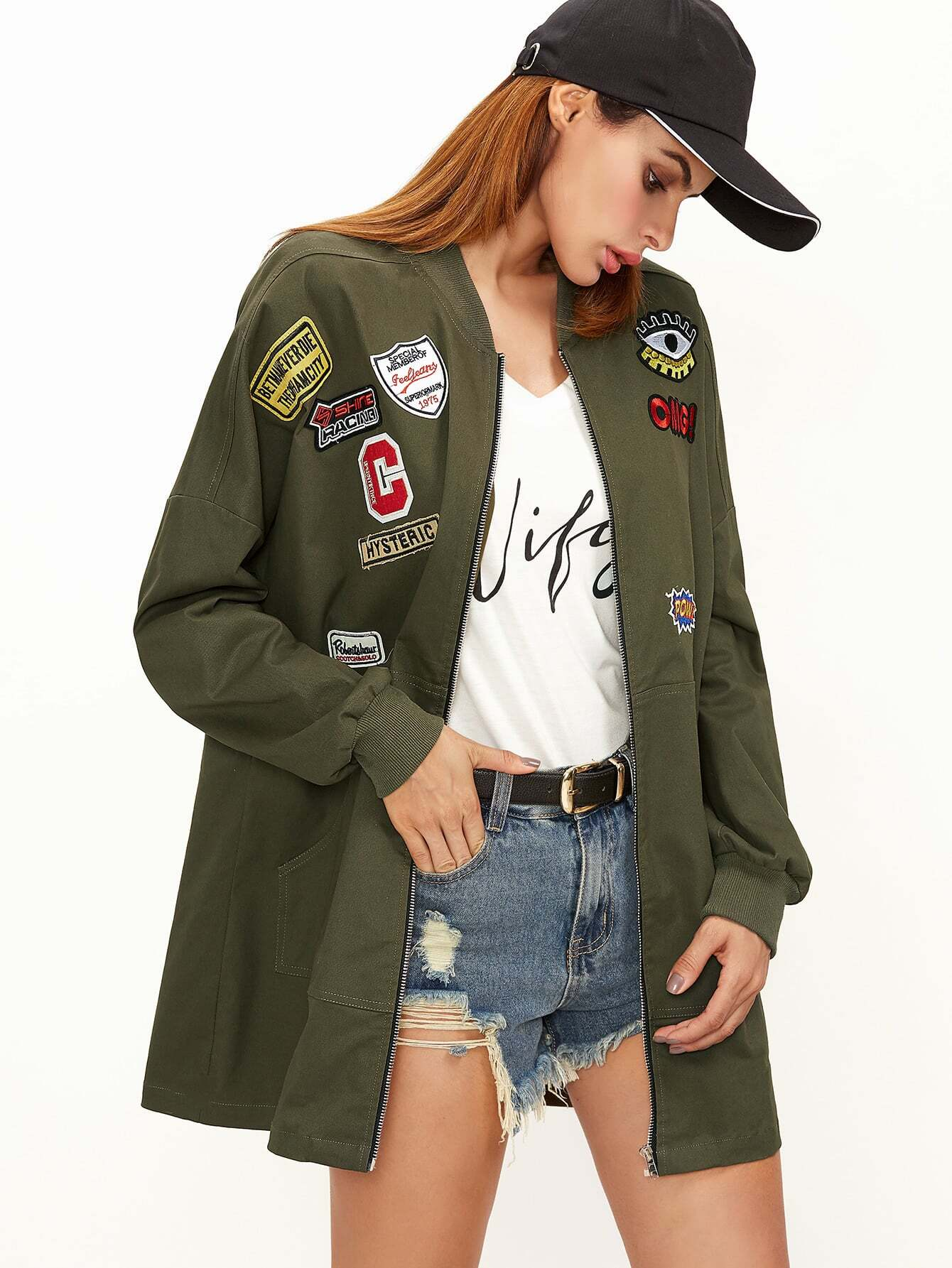 Olive Green Pocket Front Bomber Jacket With Patch Detail two tone patch back letter ribbon detail bomber jacket