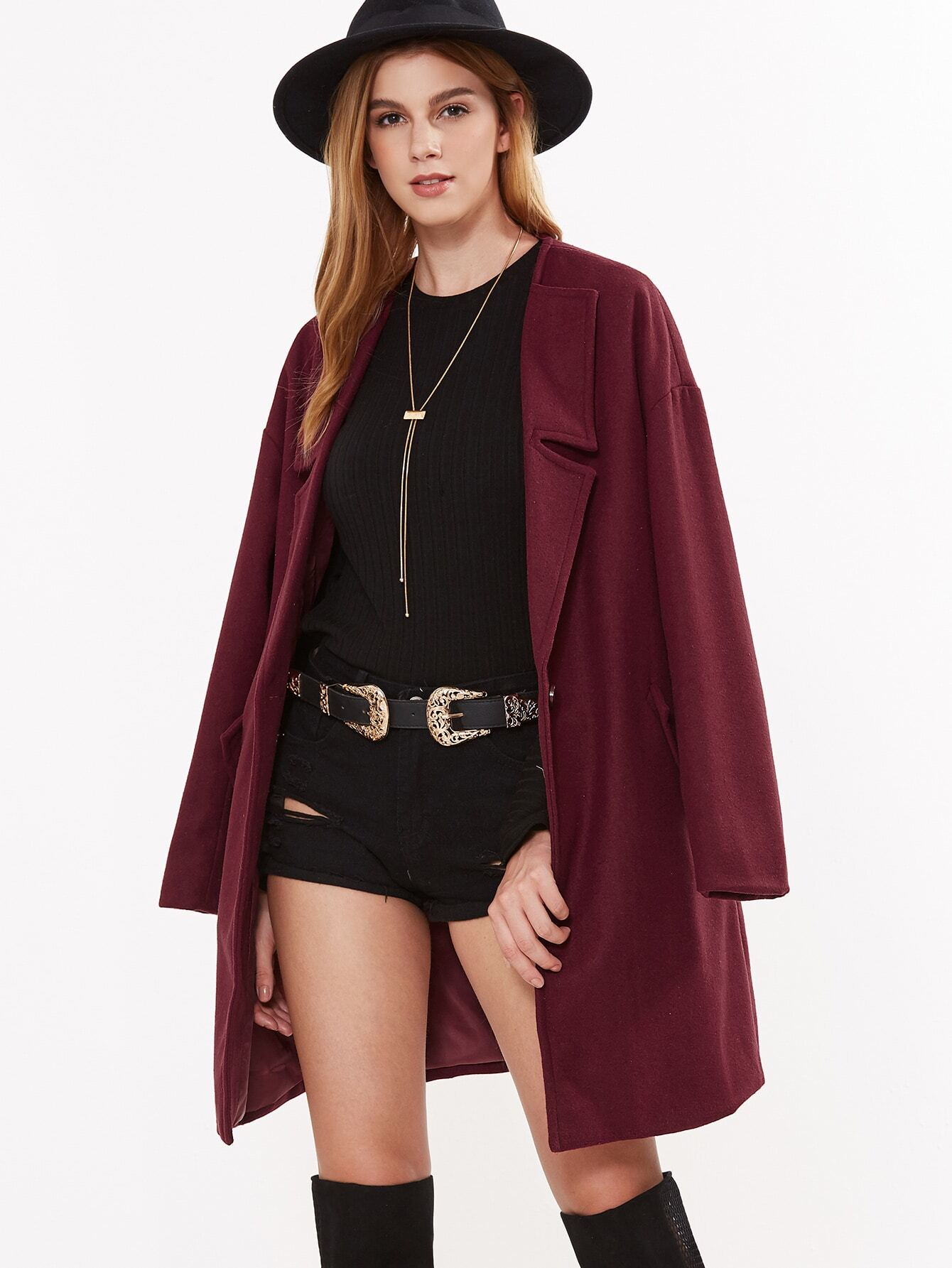 Burgundy Notch Collar One Button Front CoatBurgundy Notch Collar One Button Front Coat<br><br>color: Burgundy<br>size: L,M,S,XS