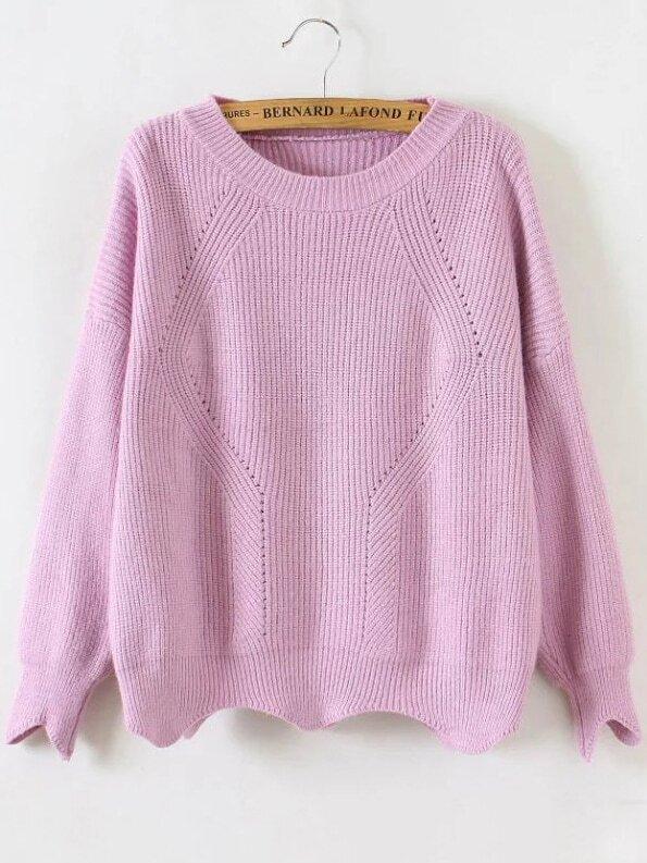 Pink Round Neck Asymmetrical Trim Sweater sweater161109209