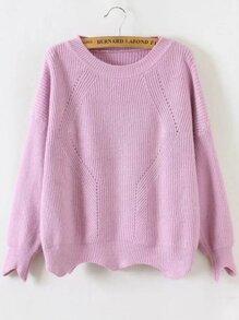 Pink Round Neck Asymmetrical Trim Sweater
