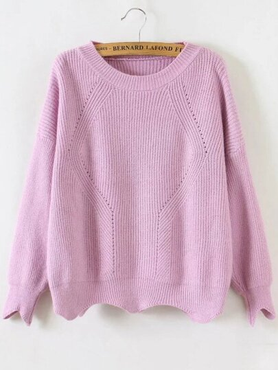 Pink Round Neck Asymmetrical Trim Sweater