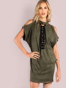 Faux Suede Mock Lace Up Tunic Dress OLIVE