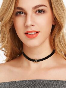 Modern Golden A Velvet Slim Choker Necklace