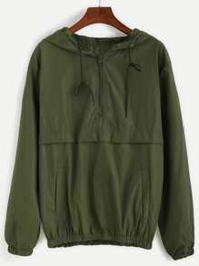 Army Green Hooded Zipper Sweatshirt