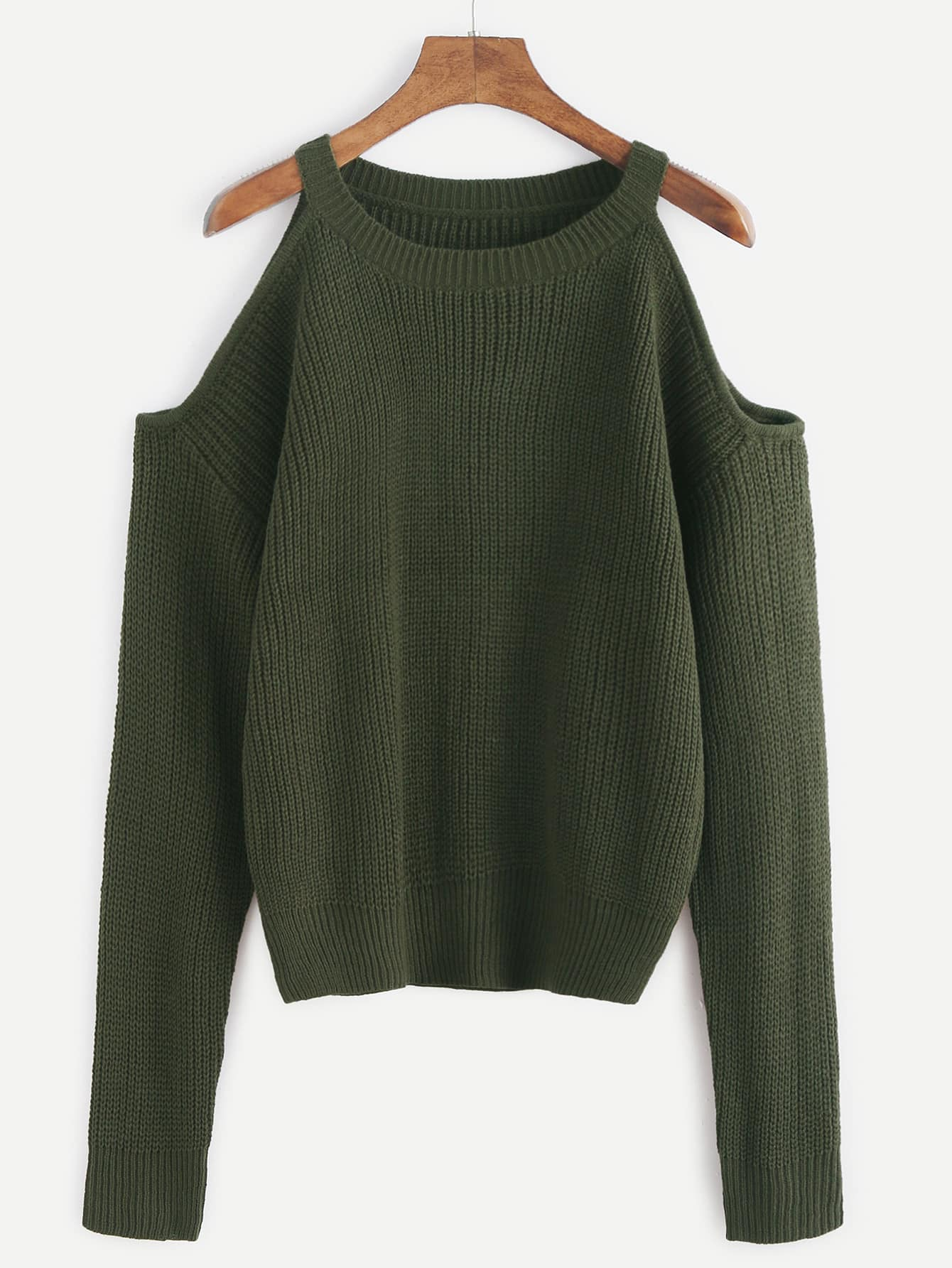 Army Green Open Shoulder Knit Sweater sweater161102301