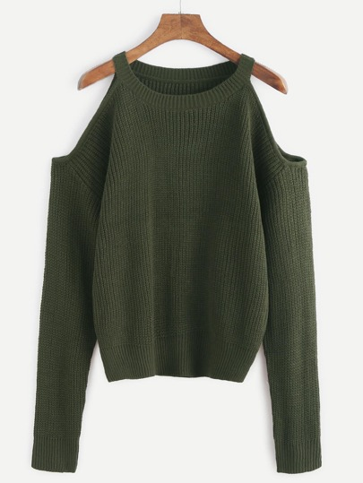 Pull tricoté épaules ouvertes - vert armée