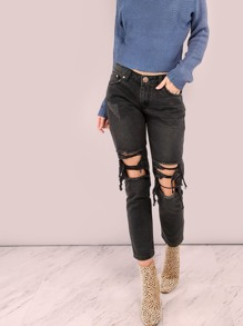 Distressed Boyfriend Jeans BLACK