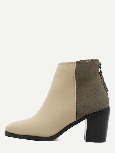Color Block PU Square Toe Back Zipper Chunky Ankle Boots