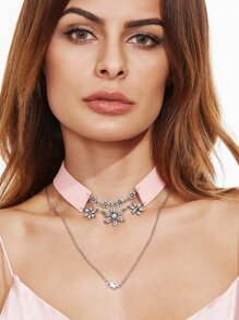 Pink Layered Floral Rhinestone Choker Necklace