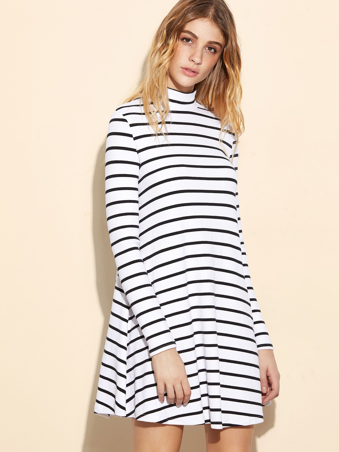 White Striped Ribbed Knit Swing Dress dress161110453
