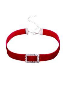 Red Velvet Rectangle Rhinestone Choker Necklace