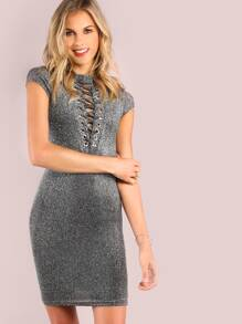 Lace Up Metallic Sparkle Mini Dress SILVER