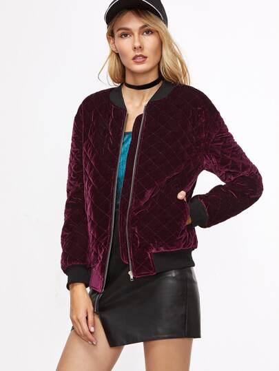 Burgundy Contrast Trim Zipper Up Quilted Velvet Bomber Jacket