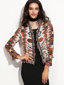 Multicolor Fringe Trim Tribal Jacquard Blazer
