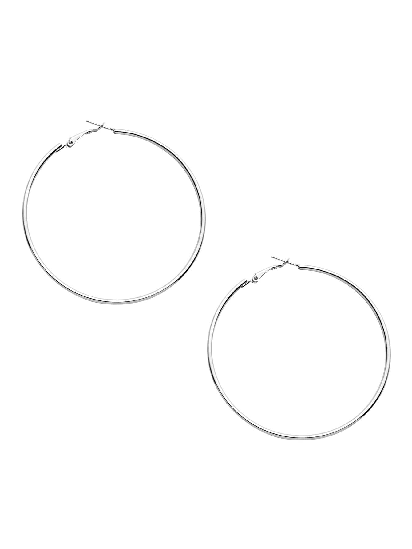 Silver Plated Simple Hoop Earrings silver plated bar dangle drop earrings