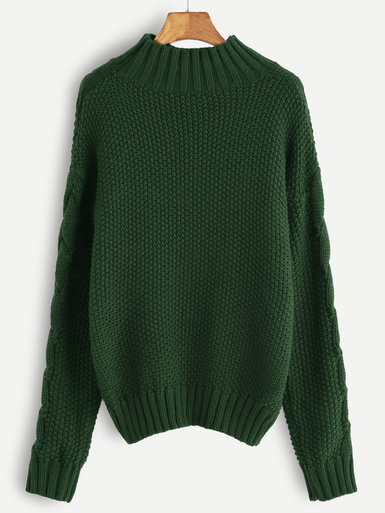 Green Cable Knit Turtleneck Sweater -SheIn(Sheinside)