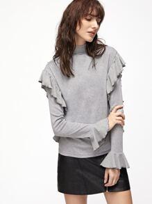 Heather Grey High Neck Bell Cuff Ruffle T-shirt