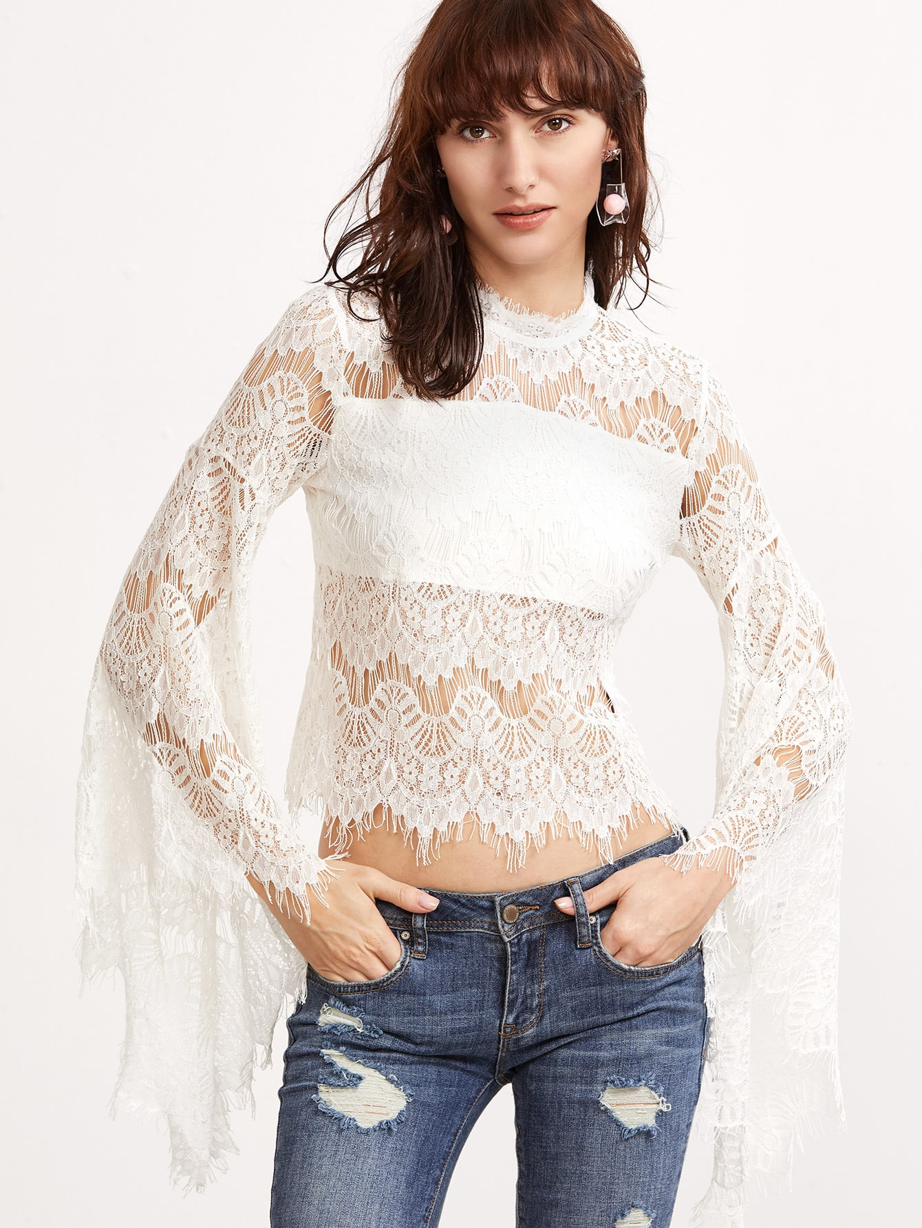 White Oversized Bell Sleeve Sheer Floral Lace Top blouse161130715