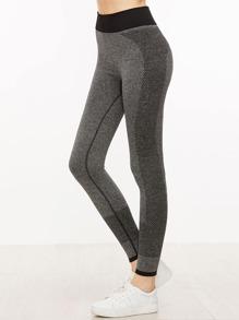 Grey Contrast Trim Leggings
