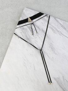 Metallic Pendant Triangle Choker Necklace BLACK