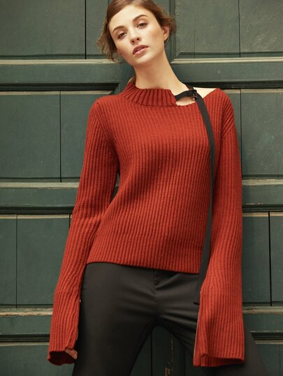Burgundy Ribbed Knit Asymmetric High Neck Sweater