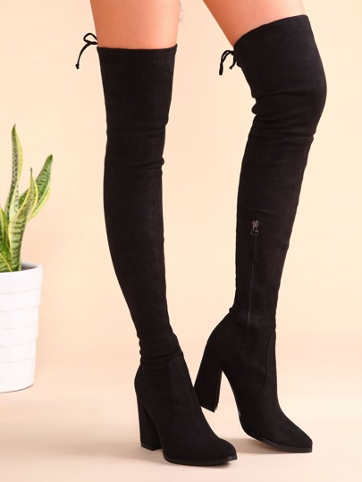 Black Suede Point Toe Tie Back Chunky Heel Thigh High Boots