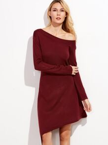 Burgundy Oblique Shoulder Asymmetric Sweater Dress