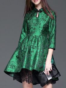 Green Jacquard High Low Lace Dress