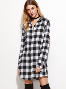 Black And White Checkered Button Up Shirt Dress