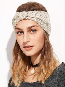 Beige Knotted Textured Knit Headband
