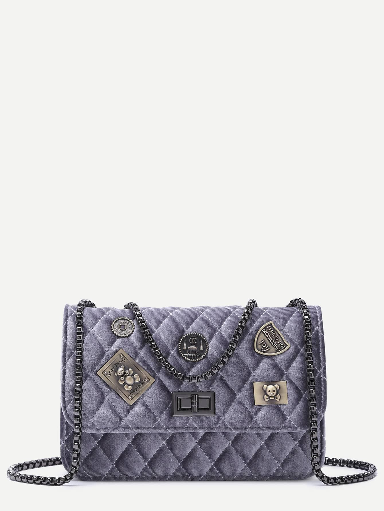 Фото Purple Grey Embellished Boxy Quilted Crossbody Chain Bag. Купить с доставкой