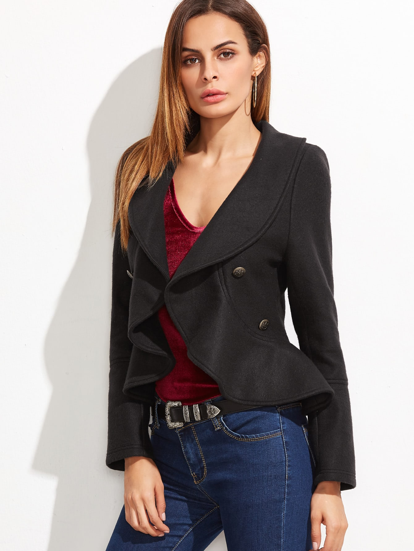 Black Shawl Collar Double Breasted Ruffle BlazerBlack Shawl Collar Double Breasted Ruffle Blazer<br><br>color: Black<br>size: L,M,S,XS