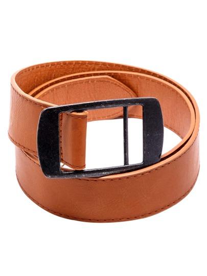 Cintura Con Fibbia Di Metallo Ecopelle - Marrone