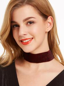 Burgundy Faux Fur Wide Choker Necklace