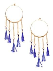 Gold Tone Bohemia Tassel Trim Beaded Hoop Earrings