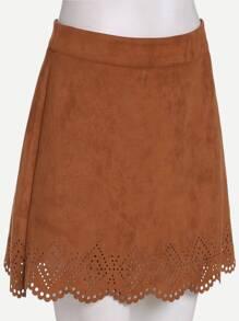 Camel Suede Laser Cutout A Line Skirt