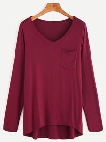 Burgundy V Neck Dip Hem T-shirt With Pocket