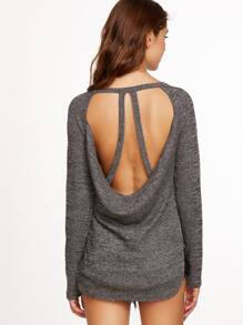 Grey Marled Strappy Open Back Ribbed T-shirt